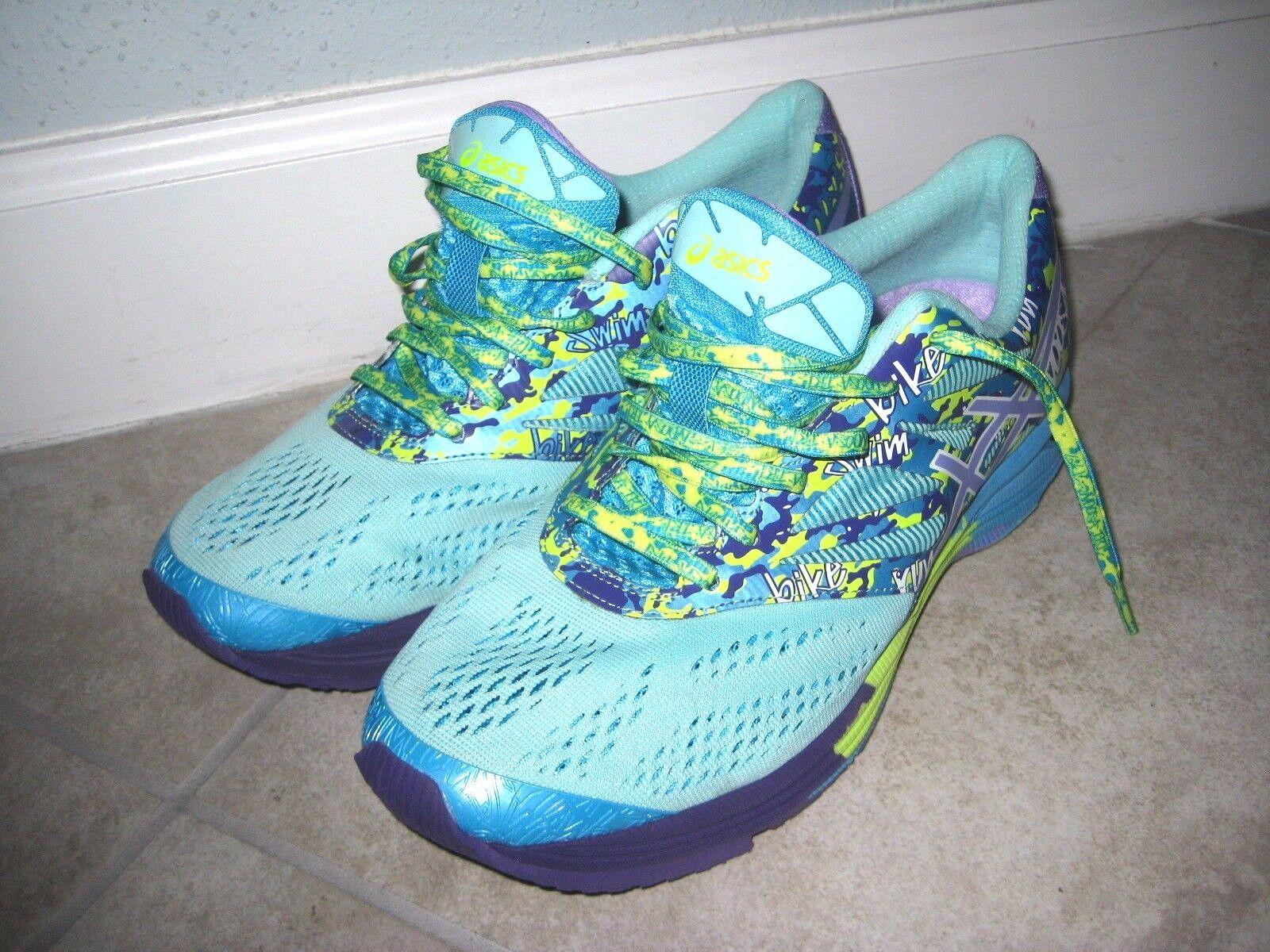 Asics T580N Gel Noosa Tri 10 Purple Green BLue Running Women's shoes USED Sz 10