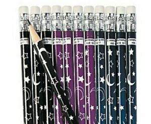 Pack-of-12-Moon-amp-Star-Wooden-Pencils-Wizard-Magic-Party-Loot-Bag-Fillers