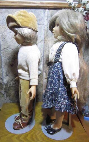 """Clodrey Made in France 2 Vinyl//Cloth Boy /& Girl Dolls ~20/"""" Tall Sleepy Eyes"""