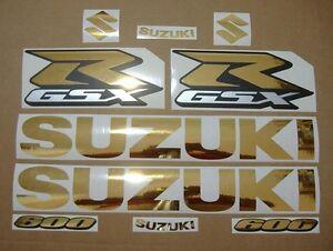 GSX-R 600 chrome gold custom decals stickers graphics kit set golden srad gixxer