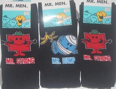 3 Paia Uomo Mr. Men (mr Forte E Mr Bump) Personaggio Socks-regno Unito Di Scarpe 6-11- Bianco Puro E Traslucido