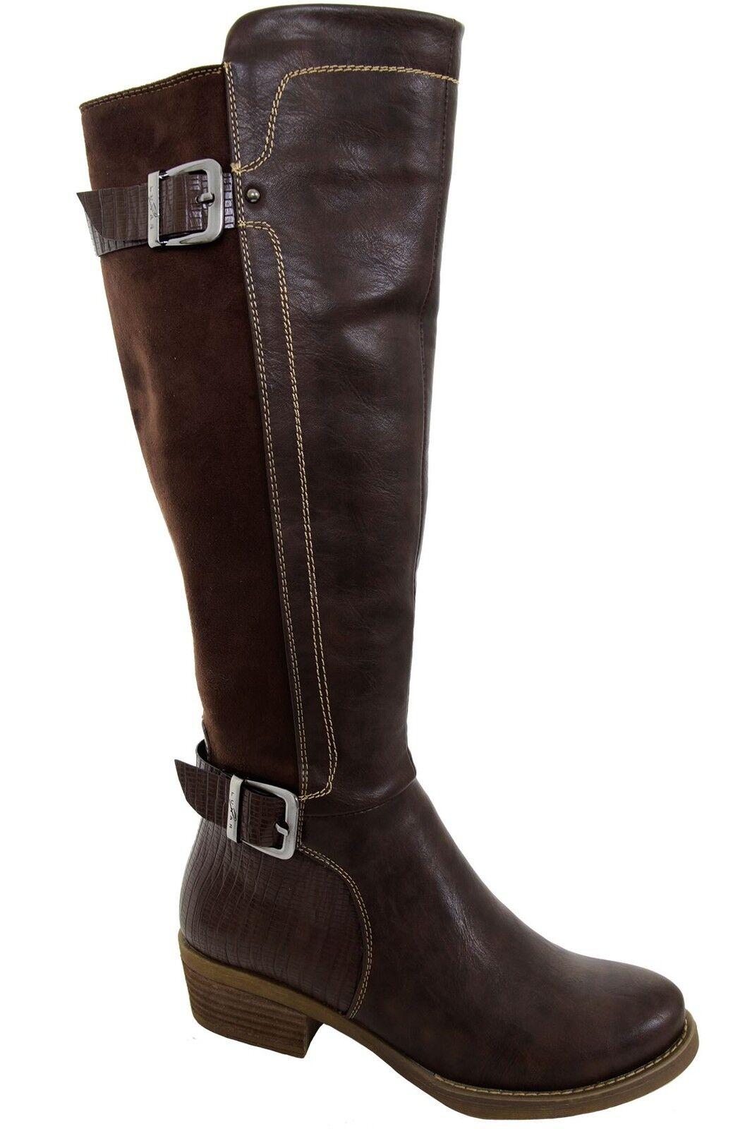 Contraste de la pantorrilla pantorrilla la ante para mujer imitación de cuero hebilla de Cremallera Alto botas Taco Bajo d1450c