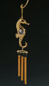 Seahorse-FIGURINE-WIND-CHIME-24KT-GOLD-PLATED-WITH-AUSTRIAN-CRYSTALS