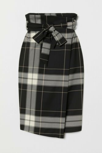 New H/&M Wrapover Check Skirt With Tie Belt
