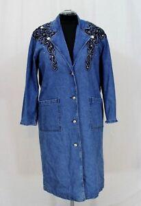 Medium Blue Coat Udsmykket Sz Masse Kvinder Western Denim Duster Jeweled Nos 8AqwXz
