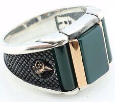 925 Sterling Silver Green Agate Stone Men's Ring -US Seller-All Sizes 8-12 K6T