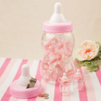 Pink Baby Bottle Bank Favor Container With 16 Mini Baby Bottles Shower Favors