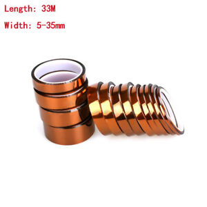 Details about 5-35mmx30M Kapton Tape High Temperature Heat Resistant  Polyimide Tape Multi-size