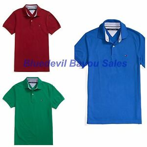 2d30d35bbe0d06 Tommy Hilfiger Polo Mens Slim Fit Interlock Solid Collared Shirt ...
