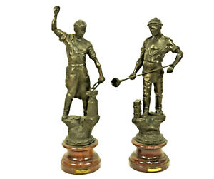 Sculptures-Patinated-Spelter-Continental-Pair-of-Blacksmith-19th-Century