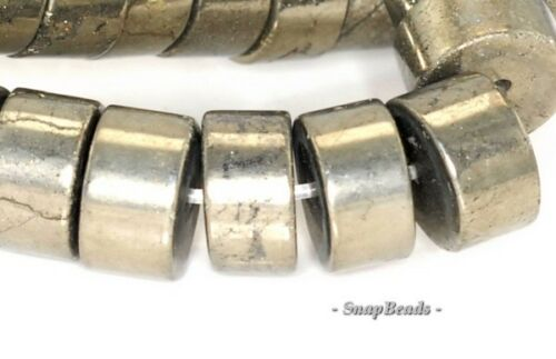 10X5MM PALAZZO IRON PYRITE GEMSTONE HEISHI RONDELLE 10X5MM LOOSE BEADS 7.5/""