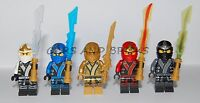 LEGO NINJAGO NINJA COLE JAY KAI ZANE LLOYD GOLD MINIFIGURES W / WEAPONS NEW