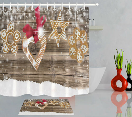 Rustic Wooden Texture Snow Xmas Decor Shower Curtain Set Polyester Fabric Hooks