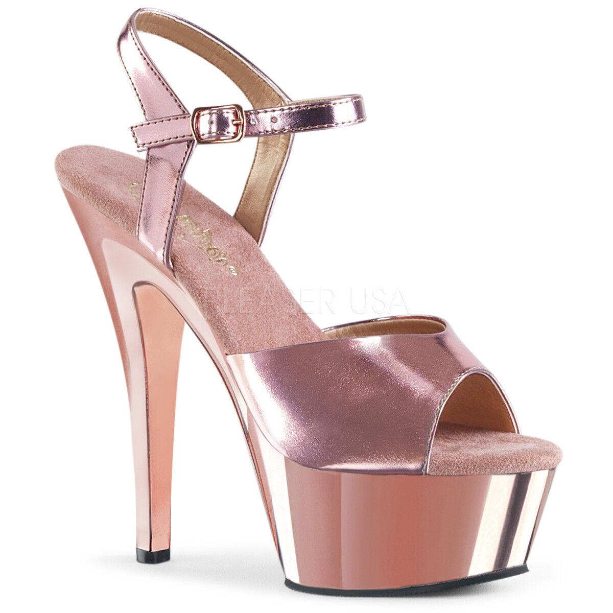 Kiss-209 Pleaser Frauen High Heels Sandaletten pinkgold metallic chrom Gr 35-43