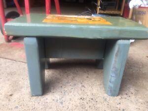 Pleasant Details About Vintage Primitive Wood Footstool Blue Paint Decoupaged Pic Character Patina Machost Co Dining Chair Design Ideas Machostcouk