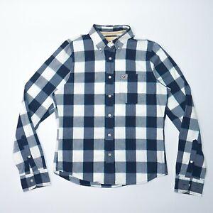 Hollister-Men-039-s-Blue-Check-Long-Sleeve-Shirt-Size-Large-Mint-Condition