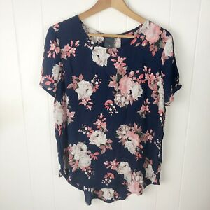 Chelsea-amp-Theodore-Womens-L-Large-Blouse-Navy-Pink-Floral-Short-Sleeve-Top-NWT