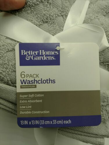 Better Homes And Gardens COTTON Wash Clothes 6 Pack NEW WITH TAGS 13 in x 13 in