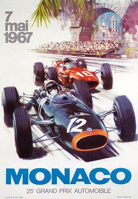 AV93 Vintage 1967 25th Monaco Grand Prix Motor Racing Poster Re-print A3