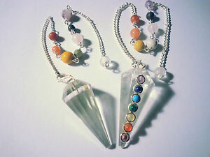 2 Stück Chakra Pendel Bergkristall Pendular Pendule Pendolo