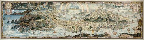 "MP23 Vintage Huge 1920/'s Map Of Fairyland Mythical Fantasy Poster Print 17/""x60/"""