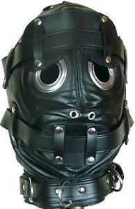 Bondage Hood Mask with Mouth Gag And Blindfold Real Black Sexy ...