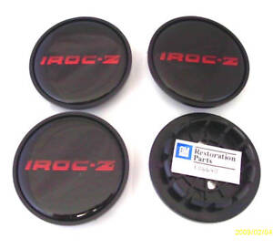 85 87 Camaro Iroc Z 28 Wheel Center Cap Set Black W Red