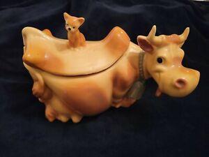 McCoy art pottery W10 USA vintage cow cat lid cookie jar large ceramic 1940 1950