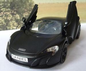 PERSONALISED-PLATE-Gift-Matt-Black-McLAREN-Boys-Dad-Diecast-Toy-Car-Model-Boxed