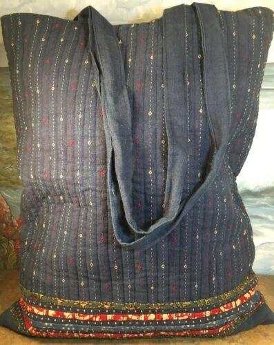 kala raksha Tote Bag Quilted Handmade Large Blue B