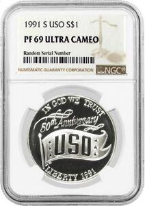 1991-S-1-USO-Commemorative-Silver-Dollar-NGC-PF69-UC