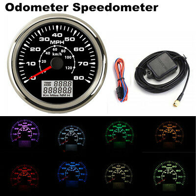 8 Colors Backlight color 85mm GPS speedometers 0-80MPH 0-120km//h speed gauge