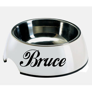 2X-CUSTOM-VINYL-DECAL-for-Dog-bowl-kennel-food-tray-BOWL-NOT-INCLUDED