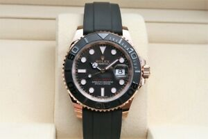 Details about Rolex Yacht,Master Everose Gold Watch 40mm Rose gold Black  Rubber Strap 116655