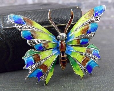 Alice Caviness Germany Sterling Silver Enamel Butterfly Pin / Brooch