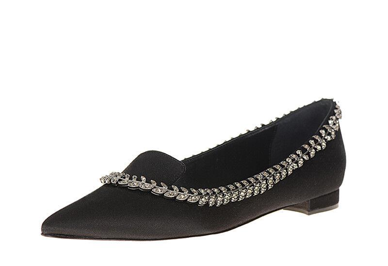 $1245 New Jewel Manolo Blahnik TRIONFAFLAT Satin Black Flats Crystal Jewel New BB Shoes 41 eb8b5a