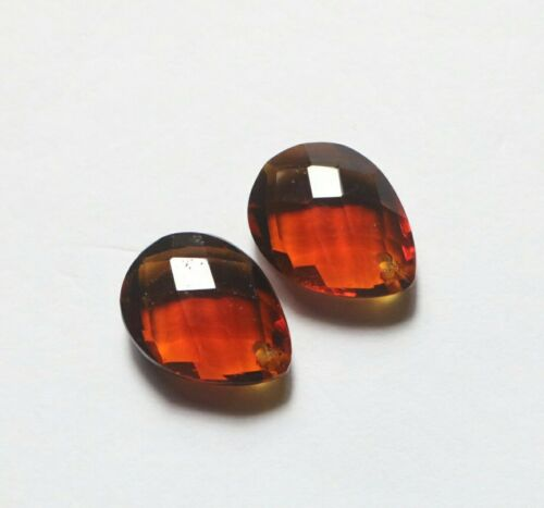 Hessonite Quartz Front Drilled Matched Pair Loose Pear Shape Faceted Briolette