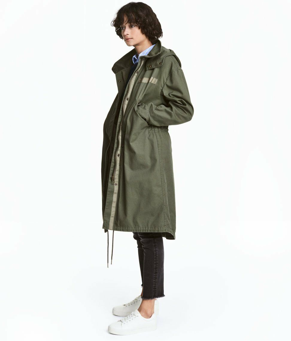 Military look Hooded Anorak Parka with Detachable Lining Coat