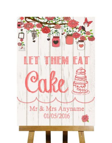 Coral Shabby Chic Rustic Wood Effect Let Them Eat Cake Personalised Wedding Sign