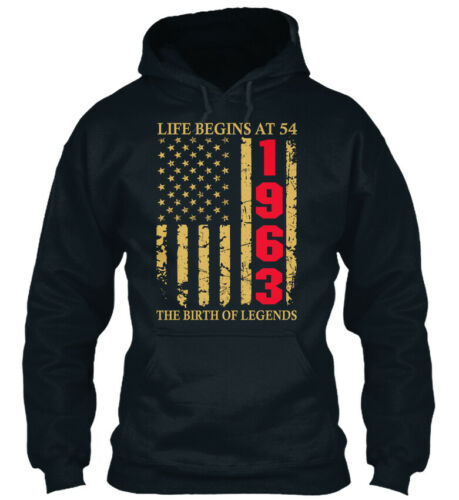 Life Begins At 54 1963 The Birth Of Legends Birthday Standard College Hoodie