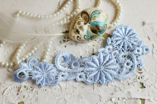 Blue Lace Applique Trim Bridal Lace Applique Floral Corded Wedding Motif 1 Pair