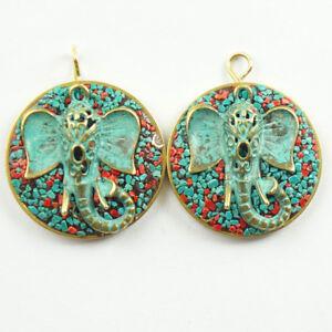 2Pcs-Nepal-Rare-Earth-Bronze-Coral-Turquoise-Elephant-trunk-Pendant-Bead-NN271