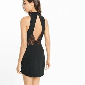 f5bea941 EXPRESS 0 BLACK MOCK NECK KEYHOLE SLEEVELESS DRESS back lace sheath ...