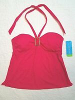 Womens Tropical Escape Rubine Red Tankini Swimsuit Top Sz 8,10,12,14,16