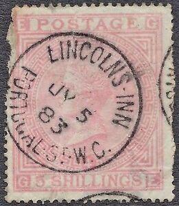 1874-QV-SG130-5s-Rose-GE-Plate-4-Blued-Paper-Spacefiller-CV-4-800-Scarce