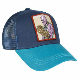 Image is loading OFFICIAL-MARVEL-COMICS-THANOS-PATCH-BLUE-SNAPBACK-TRUCKER- 7d10f8580c9