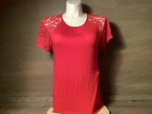 Women's Lace-Sleeve Knit Top Shirt - NWOT RED SIZE MEDIUM OR LARGE THIN