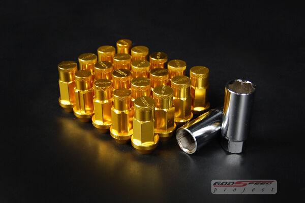 GSP T-4 GUN METAL WHEEL RIM RACING LONG LUG NUTS 50MM 20 PIECE W LOCK M12 X 1.5