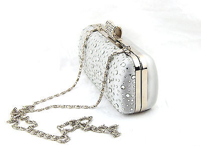 Box Shape Crystal Studded Evening Clutch Bag with Silver Trim Clasp Beaded