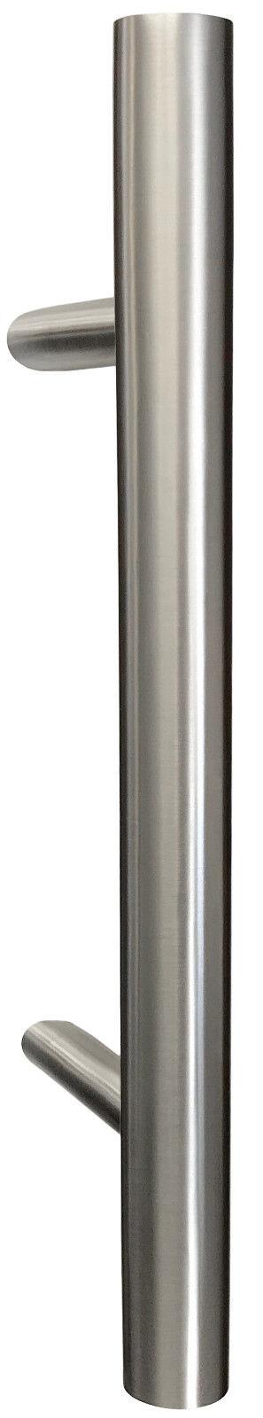 Haustürgriff Stoßgriff Edelstahl ovale Griffstange 1200 mm mit schrägen Stützen